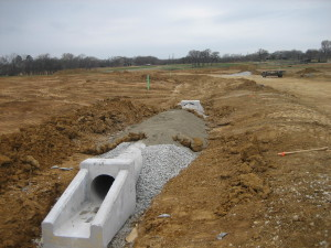 RCP pipe with dual sloping headwalls at Steeplechase South in Denton County.