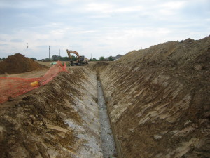 Sewer line ready for inspection at the new subdivision in Flower Mound, TX