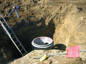Sewer manhole bottom for new housing subdivision in Fort Worth, TX