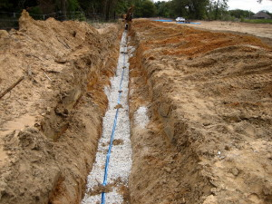 Covered water line with detectable tape on top