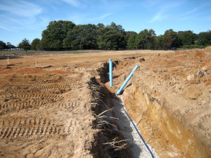 Water line with stub outs for the valves