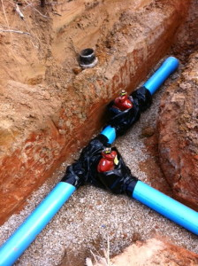 Water line valves coming to a tee